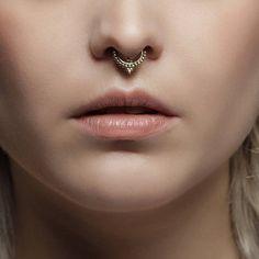 Items similar to Kiara septum tribal sterling silver piercing daith piercing, tragus piercing, ear piercing. Septum Nose Rings, Nose Piercing Jewelry, Septum Piercings, Nose Ring Stud, Nose Ring Designs, Gold Nose Hoop, Boho Rings, Tribal Jewelry, Ear