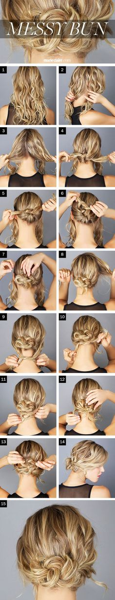 Hair for HB's wedding? The Messy Knot Bun --- if your hair feels silky/slippery, you might want to spray it with a texturizer, sea salt spray, or dry shampoo before you begin. Easy Messy Bun, Perfect Messy Bun, Messy Updo, Perfect Curls, Messy Bun Hairstyles, Pretty Hairstyles, Wedding Hairstyles, Popular Hairstyles, Hairdos