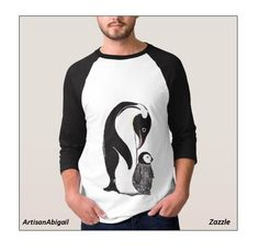 Sold! Thank you to the customer and enjoy! Penguins Men's Raglan Shirt; ArtisanAbigail at Zazzle