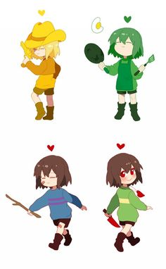 The Souls of Undertale - Yellow, Green, and Chara/Frisk Undertale Comic, Undertale Souls, Undertale Drawings, Undertale Cute, Undertale Fanart, Frisk, Toby Fox, Rpg Horror Games, Underswap