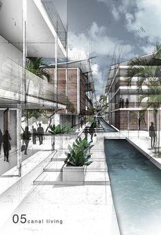 "Brianna Nixon | Team ToW, USF School of Architecture, Class of 2014Adv Design C: ""Tubma Reservoir Project"" - Spring 2013, Professor Jan Wampler - Graphite and photoshop Hillside living. brnixon2@mail.usf.edu"
