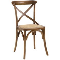 Add a rustic accent to your seating options with this simply elegant dining side chair. The contoured X-design seat back enhances the style and comfort of this chair.