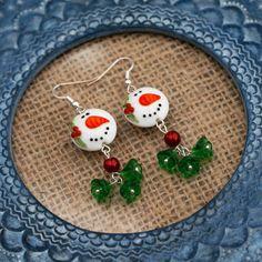 Snowman Earrings Red and Green Flower Bead by LaurasJewellery