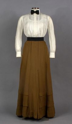 "Skirt: approximately 1900. Shirtwaist: approximately 1910. Get the first chapter of ""The Secret Life of Anna Blanc"" free at http://jenniferkincheloe.com/the-first-chapter-of-the-secret-life-of-anna-blanc-2/"