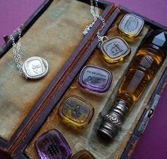 Wax Seal Set of Vitrine Glass w/ Carpe Diem necklace made from one of the seals