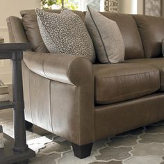 Custom Leather Ellery Large L-Shaped Sectional by Bassett Furniture