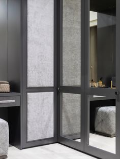 Make the most of every inch of space in your bedroom, dressing room or walk in wardrobe with a corner design. Perfectly fitted, this design helps maximise space and is a great storage solution. This design with a fabric Castille wardrobe doors and external mirrors is a great choice for any home or bedroom decor design. #bedroomdecor #bedroomstoage #storagesolution #cornerwardrobe #wardrobe #London #Neatsmith Corner Wardrobe, Walk In Wardrobe, Wardrobe Design, Sliding Wardrobe, Wardrobe Doors, Veneer Door, Shaker Doors, Maximize Space, Unique Doors