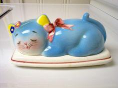 Vintage Norcrest Blue Cat Butter DIsh
