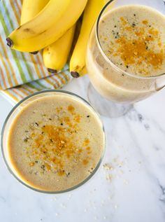 Turmeric banana smoothie with ginger