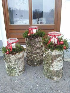 Lanterns… - wood ideas - Windlichter Windlichter More The post Wi. Christmas Porch, Christmas Candles, Primitive Christmas, Outdoor Christmas, Country Christmas, Christmas Holidays, Christmas Wreaths, Christmas Ornaments, Wood Log Crafts