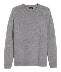 Soft cashmere sweater in a textured grey knit with flat-knit raglan sleeves.   H&M Men's Classics