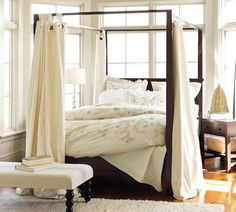 Curtains for canopy bed - If you are lucky enough to have a four-poster bed, you already know that change bed curtains changes look of entire room. Canopy Bed Curtains, Canopy Bedroom, Diy Canopy, Home Bedroom, Bedroom Decor, Master Bedroom, Backyard Canopy, Fabric Canopy, Canopy Tent