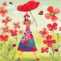 Square card by Mila Marquis Art Carte, Square Card, Postcard Design, Naive Art, Whimsical Art, Beautiful Paintings, Cute Art, Poppies, Fantasy Art