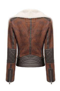 Biker Jacket in Shearling - US$59.95 -YOINS