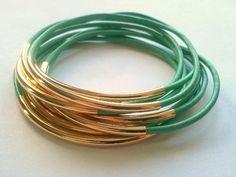 Mint Leather Bangle Bracelet with Silver Accents-Boho Bracelet, Bohemian Jewelry, Wrap bracelet, stackable bracelets on Etsy, $23.00