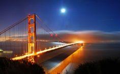 WALLPAPERS HD: San Francisco Bridge Night Lights