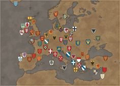 Escudos heráldicos de principios del sxiii de Europa