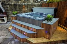 Beautiful cedar bar surround.   Gallery Hot Tub Gazebo, Hot Tub Garden, Hot Tub Backyard, Backyard Patio, Screened Patio, Indoor Garden, Backyard Ideas, Whirlpool Bar, Hot Tub Bar