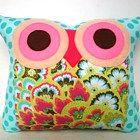 Polyfil Stuffed Soul Blossoms(Aqua) Amy Butler fabric Owl Pillow for b