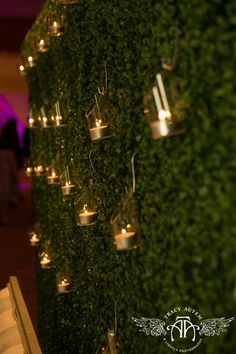 Hanging votives on a hedge wall creates a soft lighting detail in the reception space Wedding Stage Decorations, Aisle Decorations, Wall Backdrops, Event Lighting, Wedding Lighting, Hedges, Flower Wall, Event Design, Special Events