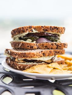 Grilled Eggplant, Red Pepper And Herbed Goat Cheese Sandwiches Recipe ...