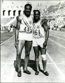 Marquette sprinter Ralph Metcalfe with Eddie Tolan at the Los Angeles Olympics, 1932. Metcalfe won four total medals in the 1932 (Los Angeles) and 1936 (Berlin) Summer Olympics.