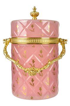 French opaline glass | French Pink Opaline Glass Jar with Gilt Ormolu Mounts from ...