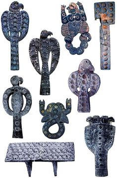 jiroft, Iran artifacts, which possibly pre-date Sumerian, and resemble ankhs or shen, even Scythian eagles