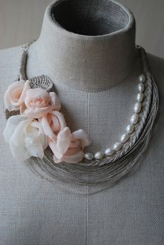 OOAK Linen Necklace. GRETA. Ready to ship . by magdalinen on Etsy, $75.00