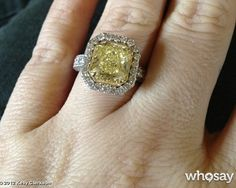 Brandon Blackstock popped the question to Kelly Clarkson in December 2012 with this large canary yellow diamond engagement ring.