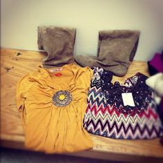#goodwill #thrifted finds today! Suede boots- mustard yellow shirt-NWT #chevron shirt!
