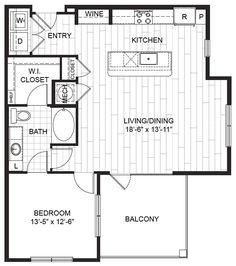 A8 – One Bedroom Apartment / One Bathroom  1,049 Square Feet
