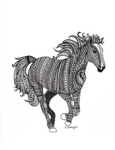 Black and White Zentangle Wild Horse drawing by LimeGreenArtShop, $15.00