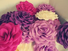 Crepe paper flowers. Paper roses. Large flowers