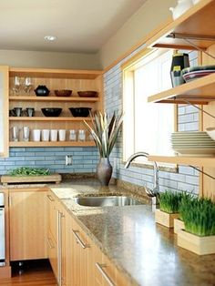 A non-white kitchen I love! Between the open shelving and blue backsplash, there is so much going for this space. Kitchen Corner, New Kitchen, Kitchen Decor, Earthy Kitchen, Beige Kitchen, Kitchen Wood, Kitchen Cupboard, Kitchen Tips, Kitchen Ideas