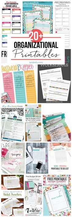 20+ Organizational Printables