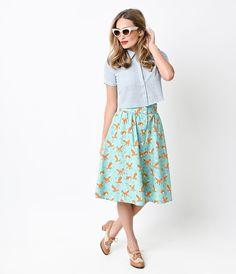 Retro Style Aqua Foxy Button Up Getaway Skirt