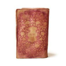 Leather Antiqued Book Wallet in pink