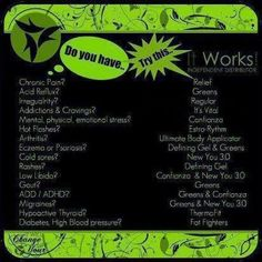 It Works! Products & benefits...Transform your life with these AMAZING products! All Natural, No GMO Go to lisarussowraps.com and get started today!
