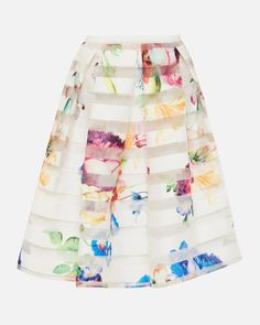 Tapestry Floral burnout skirt - Pale Yellow | Skirts | Ted Baker AU