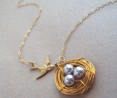 Golden Nest and Swallow necklace with purple by ABoxForMyTreasure