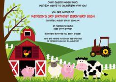 Barnyard Bash Birthday Invitation by cohenlane on Etsy, $8.00