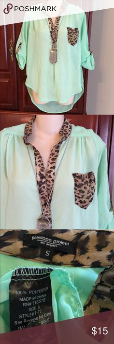 Penelope project mint green gorgeous top This is a Penelope project sheer mint green with animal print accents top and is a size small. It's in excellent used condition and comes from a pet free and smoke free home. penelope project Tops Tunics