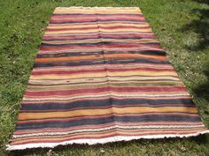 Turkish Striped Rug, 4x6 Feet Vintage Kilim, Handwoven Area Rug,Flat Weave Kelim