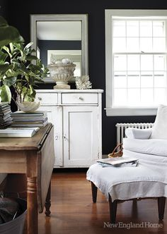 "(10) home of Nancy Ross in Dublin New Hampshire.  New England Home.  ""...Benjamin Moore's Westcott Navy, which at first glance appears to be a deep charcoal but then melts into the woolliest of navy blues."""