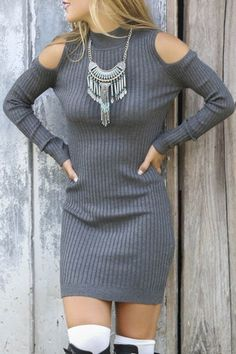 dress sweater sweater dress boho dress off the shoulder off the shoulder dress off the shoulder sweater boho chic boho jewelry winter outfits high neck bohemian autumn/winter zaful casual chic chic knitted sweater fashion style cute girly sexy trendy cut-out grey knitwear long sleeves