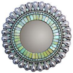 "Green Drop Mirror 7""  by Zetamari Mosaics"