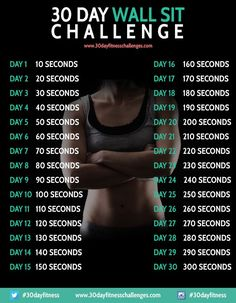 30 Day Wall Sit Challenge Fitness Workout Chart * This 30 day wall sit workout challenge has been designed as a great way to tone up and strengthen your leg and core muscles, by doing a simple exercise once per day.