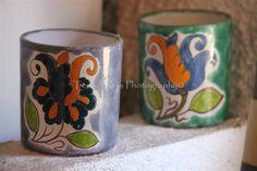 Copos de barro pintados à mão (artesanato C. Terra, Amadora)