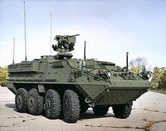 The IAV (Interim Armored Vehicle) Stryker is a family of eight-wheeled,[8] armored fighting vehicles derived from the Canadian LAV III and based on the Swiss Piranha III 8×8. Stryker vehicles are produced by General Dynamics Land Systems for the United States Army. It has 4-wheel drive (8×4) and can be switched to all-wheel drive (8×8)